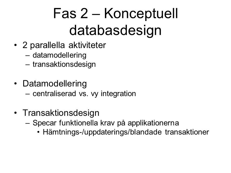 Fas 2 – Konceptuell databasdesign 2 parallella aktiviteter –datamodellering –transaktionsdesign Datamodellering –centraliserad vs. vy integration Tran