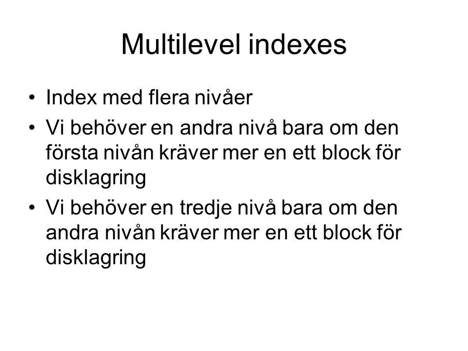 Multilevel indexes Index med flera nivåer Vi behöver en andra nivå bara om den första nivån kräver mer en ett block för disklagring Vi behöver en tred