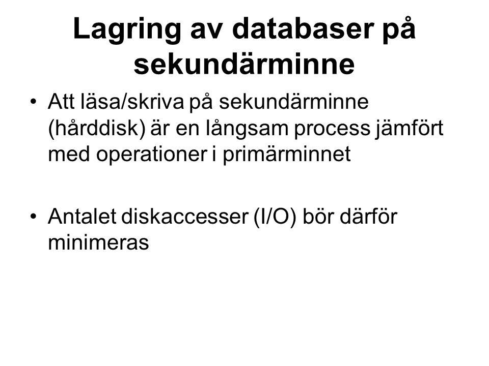 Lagring av databaser på sekundärminne Att läsa/skriva på sekundärminne (hårddisk) är en långsam process jämfört med operationer i primärminnet Antalet