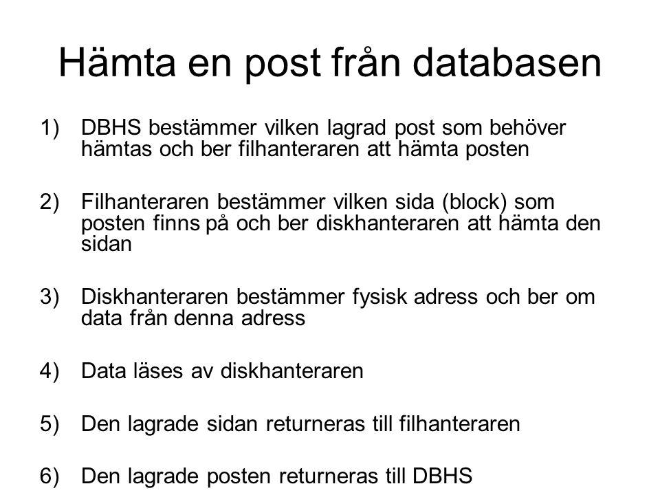 Hämta en post från databasen 1)DBHS bestämmer vilken lagrad post som behöver hämtas och ber filhanteraren att hämta posten 2)Filhanteraren bestämmer v