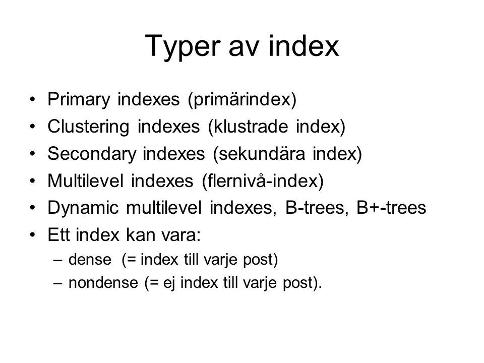 Primary indexes Index knutet till primärnyckel Indexet består av ett primärnyckelvärde och en pekare till ett block Indexet får lika många rader som antalet diskblock datafilen består av Indexet är nondense
