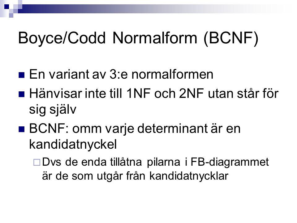 Boyce/Codd Normalform (BCNF) En variant av 3:e normalformen Hänvisar inte till 1NF och 2NF utan står för sig själv BCNF: omm varje determinant är en kandidatnyckel  Dvs de enda tillåtna pilarna i FB-diagrammet är de som utgår från kandidatnycklar