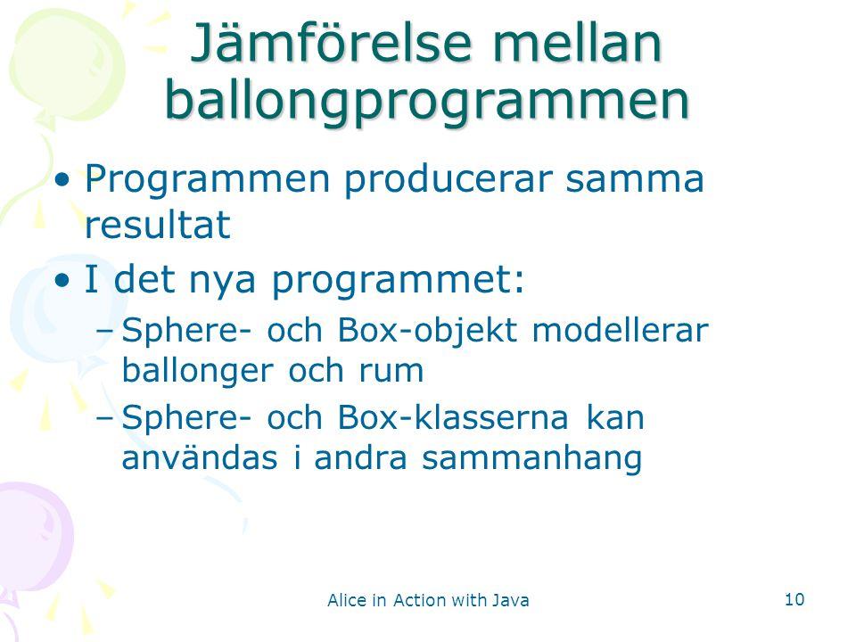 Alice in Action with Java 10 Jämförelse mellan ballongprogrammen Programmen producerar samma resultat I det nya programmet: –Sphere- och Box-objekt mo