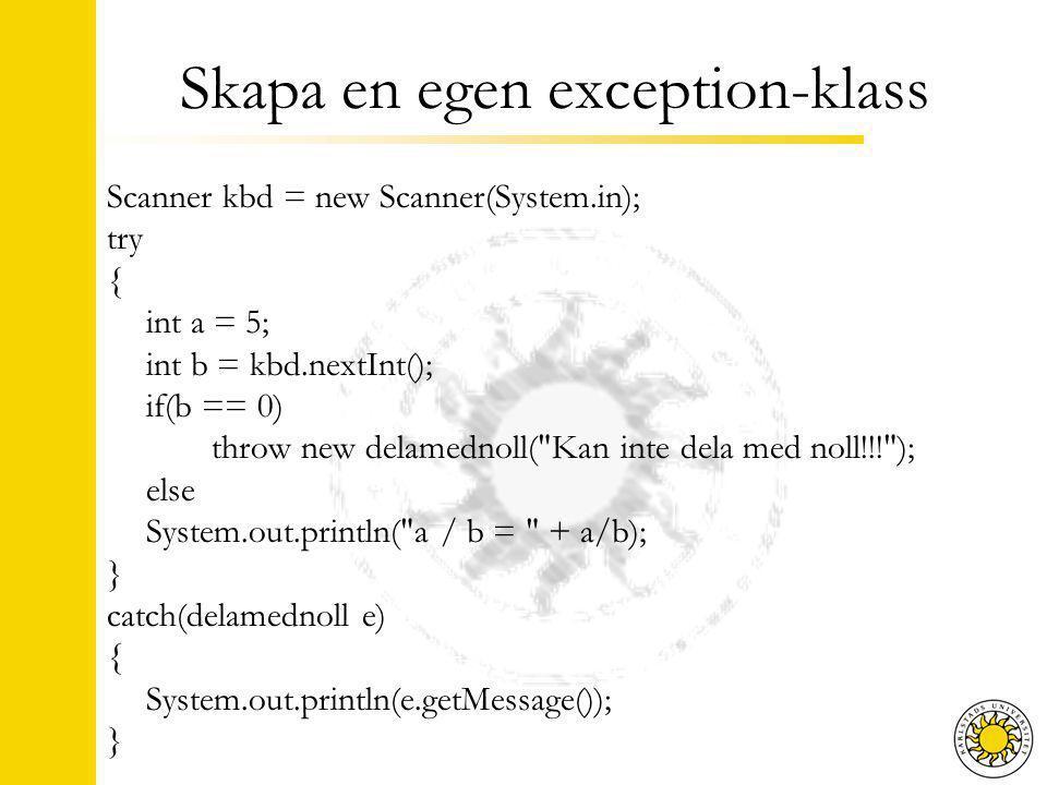 Summering Olika sorters exceptions Checked Unchecked Error Kontraktsprogrammering pre / post