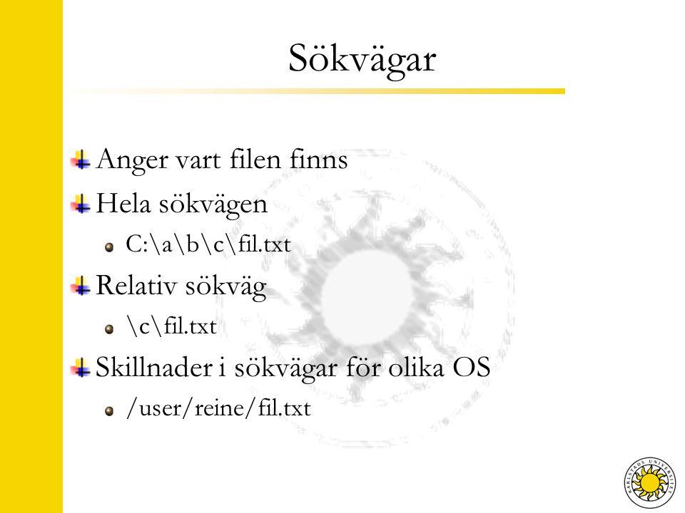 Sökvägar Anger vart filen finns Hela sökvägen C:\a\b\c\fil.txt Relativ sökväg \c\fil.txt Skillnader i sökvägar för olika OS /user/reine/fil.txt