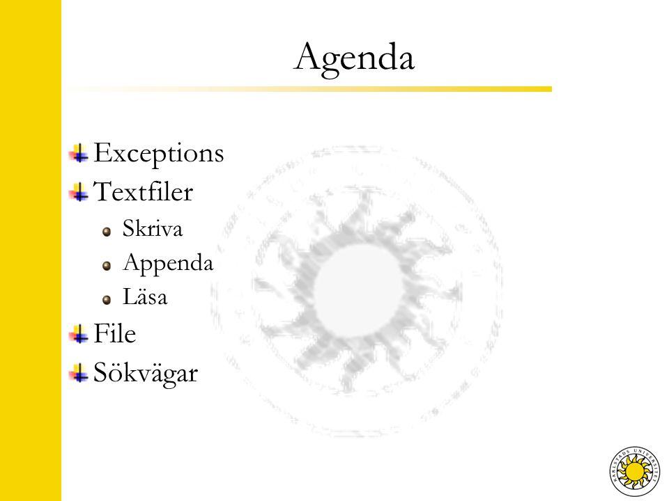 Agenda Exceptions Textfiler Skriva Appenda Läsa File Sökvägar