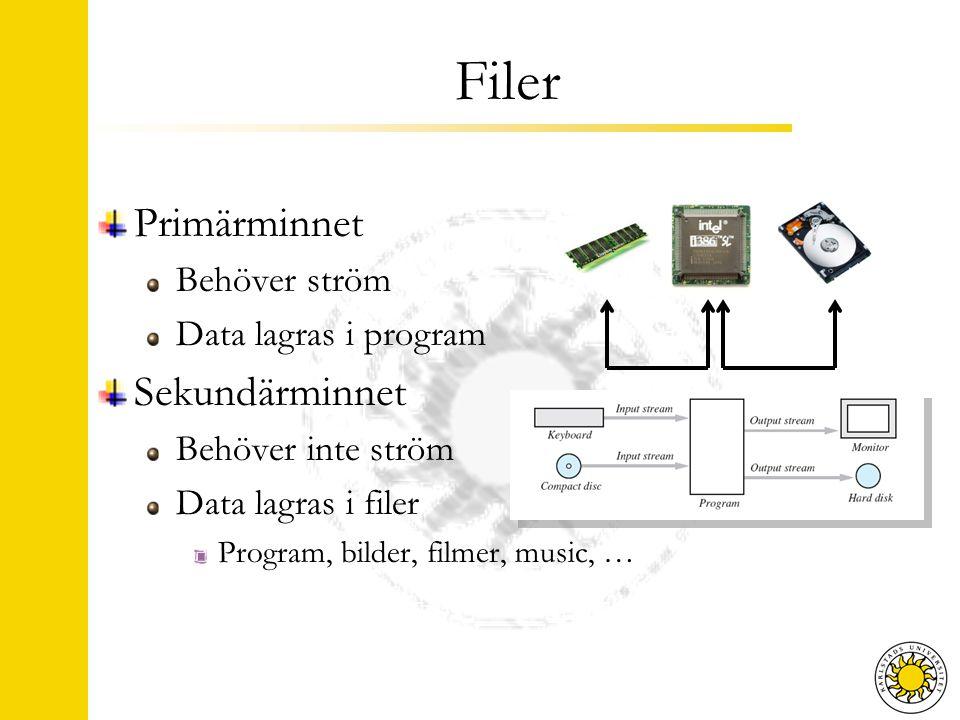 Filer Primärminnet Behöver ström Data lagras i program Sekundärminnet Behöver inte ström Data lagras i filer Program, bilder, filmer, music, …