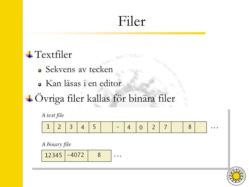 Filer Textfiler Sekvens av tecken Kan läsas i en editor Övriga filer kallas för binära filer