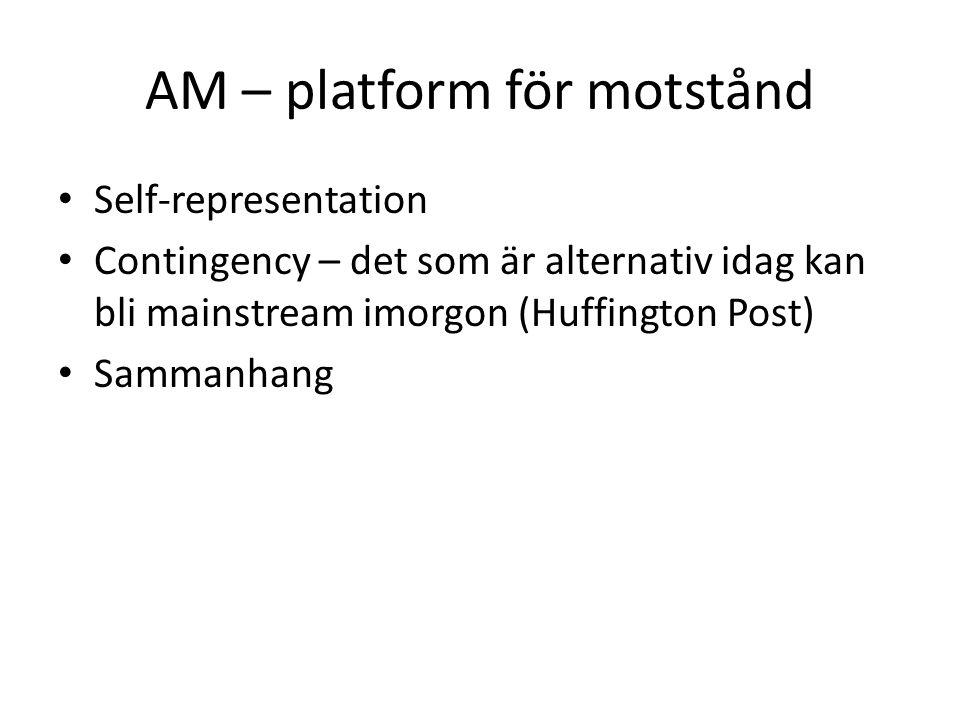 AM – platform för motstånd Self-representation Contingency – det som är alternativ idag kan bli mainstream imorgon (Huffington Post) Sammanhang