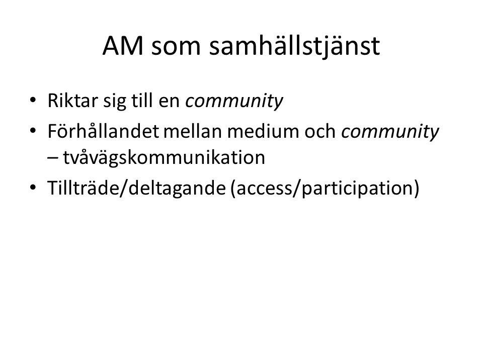 AM som samhällstjänst Riktar sig till en community Förhållandet mellan medium och community – tvåvägskommunikation Tillträde/deltagande (access/participation)