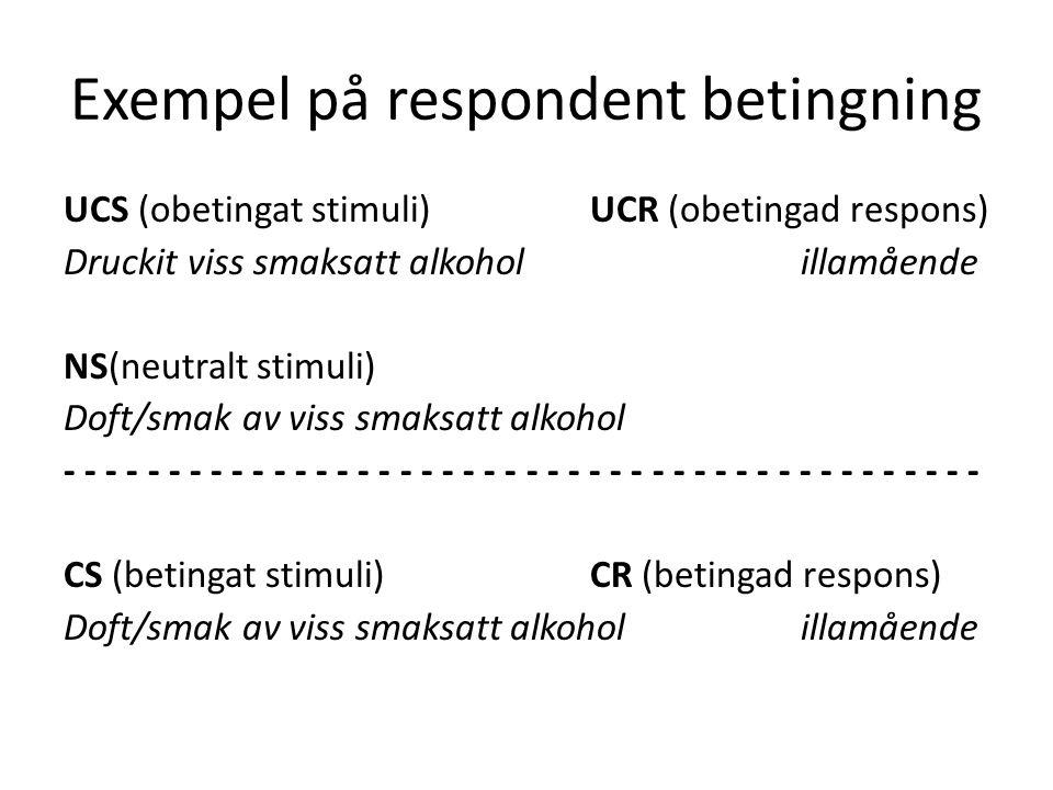 Exempel på respondent betingning UCS (obetingat stimuli)UCR (obetingad respons) Druckit viss smaksatt alkoholillamående NS(neutralt stimuli) Doft/smak av viss smaksatt alkohol - - - - - - - - - - - - - - - - - - - - - - CS (betingat stimuli) CR (betingad respons) Doft/smak av viss smaksatt alkoholillamående