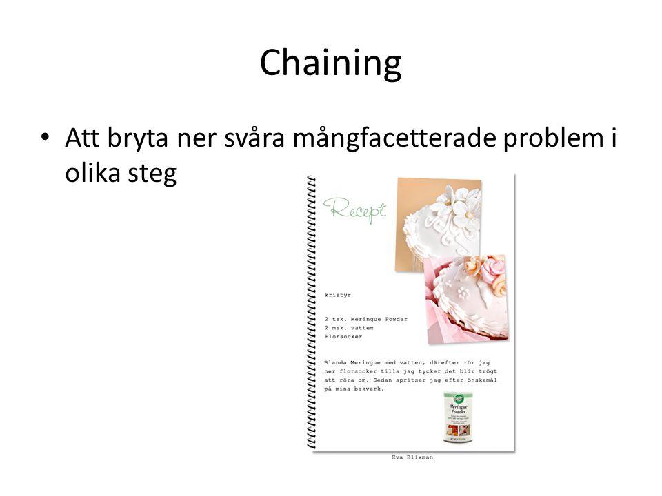 Chaining Att bryta ner svåra mångfacetterade problem i olika steg