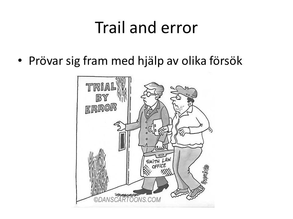 Trail and error Prövar sig fram med hjälp av olika försök