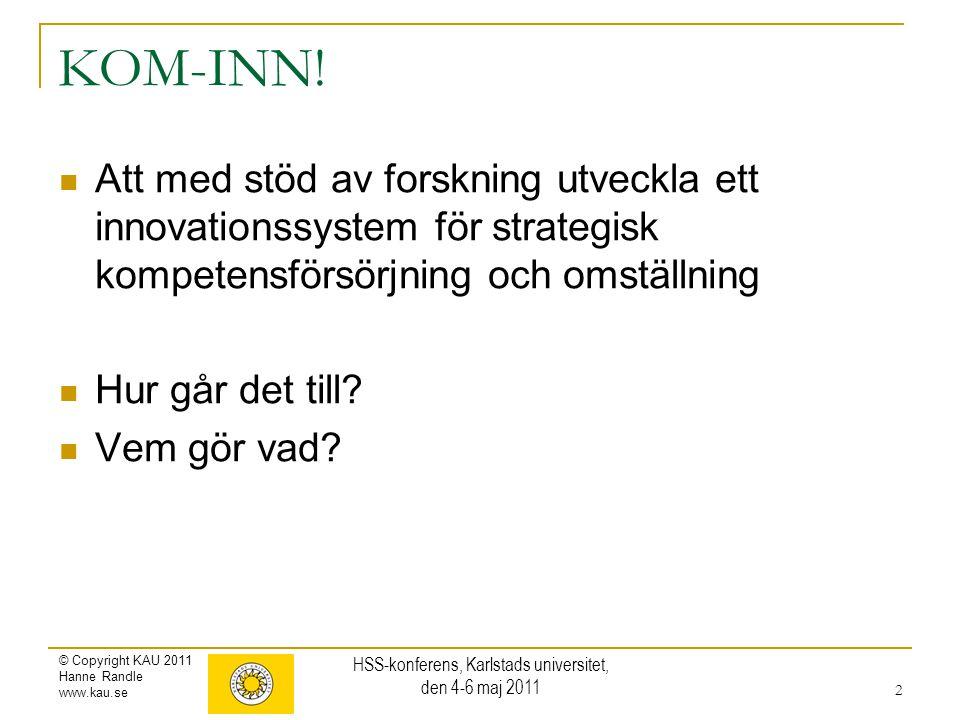 © Copyright KAU 2011 Hanne Randle www.kau.se KOM-INN! Att med stöd av forskning utveckla ett innovationssystem för strategisk kompetensförsörjning och