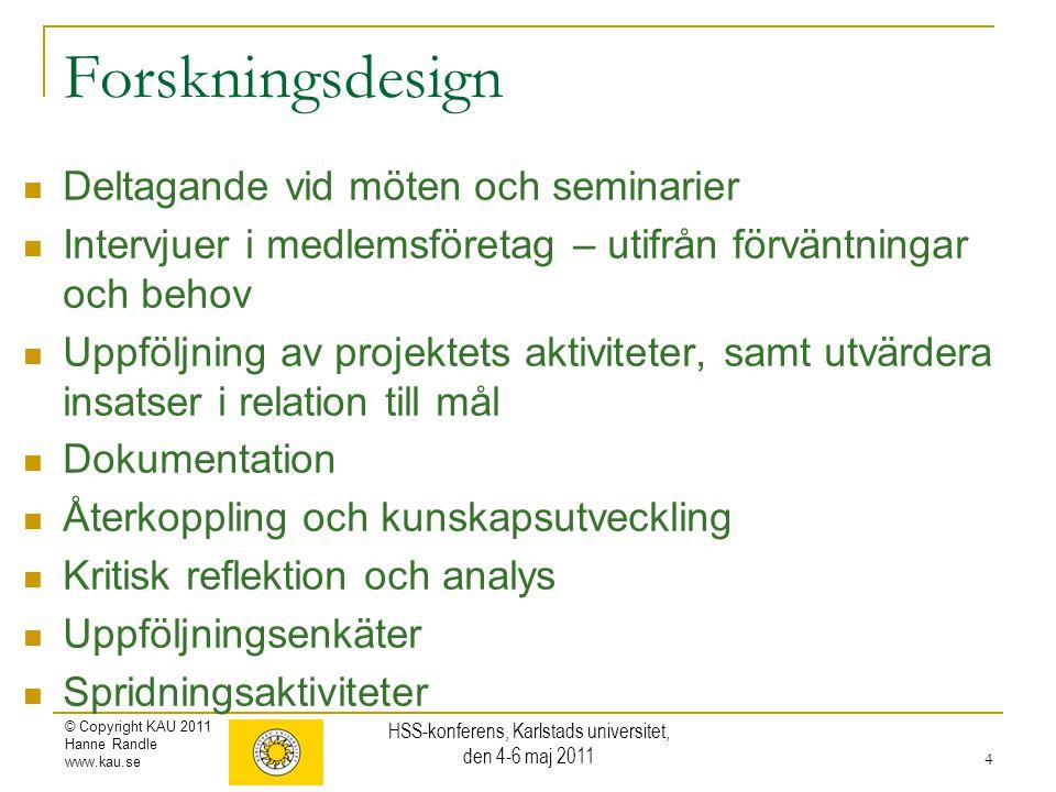 © Copyright KAU 2011 Hanne Randle www.kau.se Forskningsdesign Deltagande vid möten och seminarier Intervjuer i medlemsföretag – utifrån förväntningar