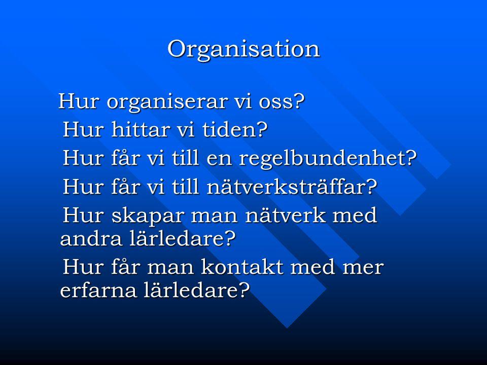Organisation Hur organiserar vi oss? Hur organiserar vi oss? Hur hittar vi tiden? Hur hittar vi tiden? Hur får vi till en regelbundenhet? Hur får vi t