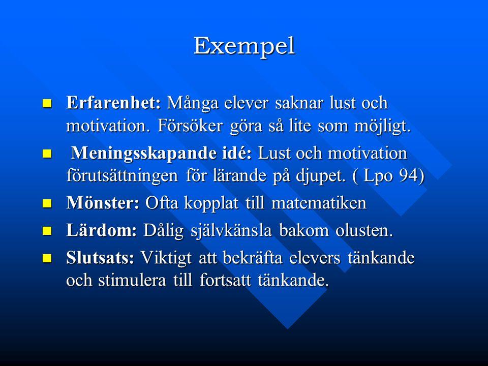 Exempel Erfarenhet: Många elever saknar lust och motivation. Försöker göra så lite som möjligt. Erfarenhet: Många elever saknar lust och motivation. F