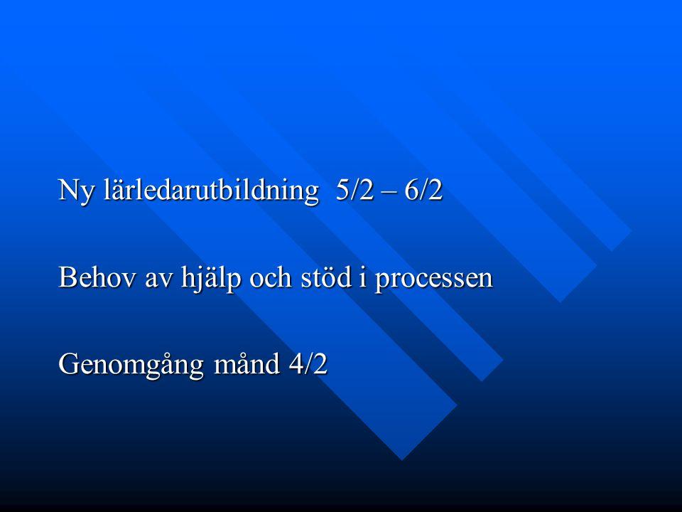 Ny lärledarutbildning 5/2 – 6/2 Behov av hjälp och stöd i processen Genomgång månd 4/2