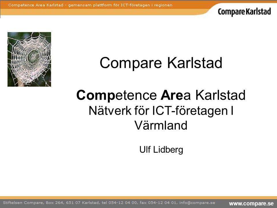 www.compare.se Compare Karlstad Competence Area Karlstad Nätverk för ICT-företagen I Värmland Ulf Lidberg