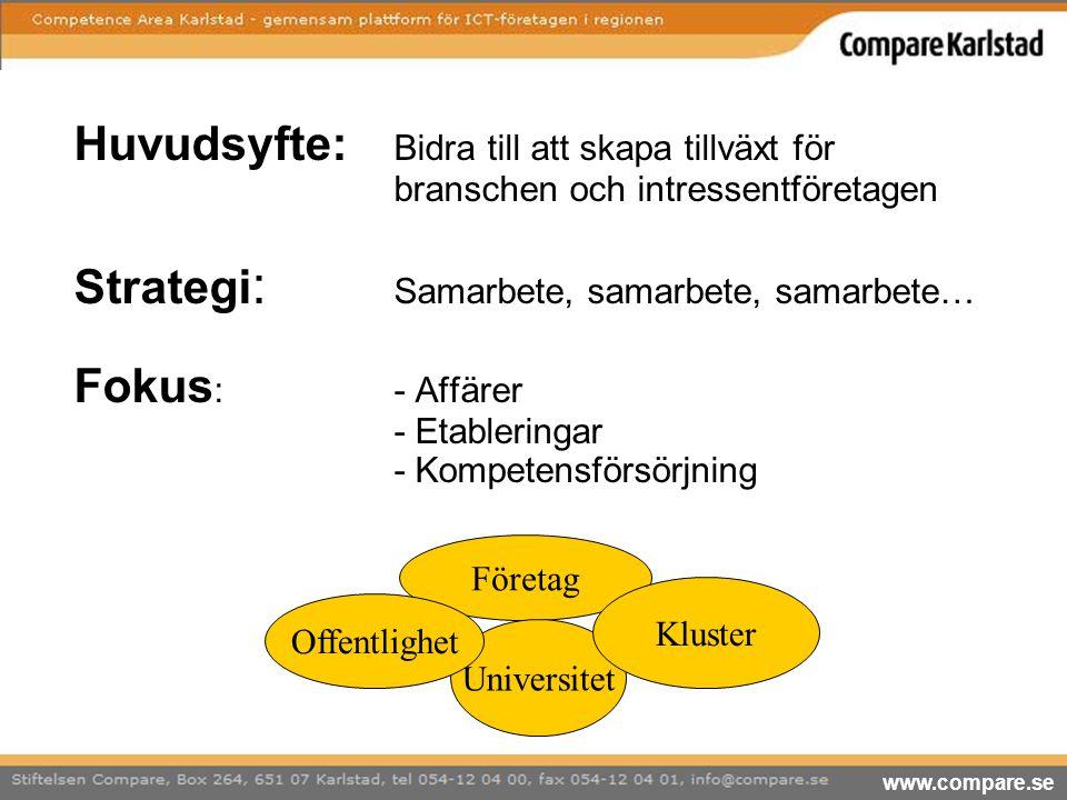 Huvudsyfte: Bidra till att skapa tillväxt för branschen och intressentföretagen Strategi : Samarbete, samarbete, samarbete… Fokus :- Affärer - Etabler