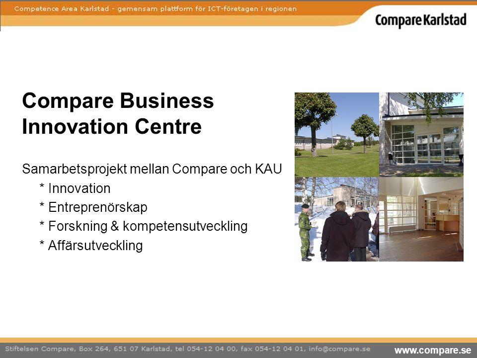 Compare Business Innovation Centre Samarbetsprojekt mellan Compare och KAU * Innovation * Entreprenörskap * Forskning & kompetensutveckling * Affärsut