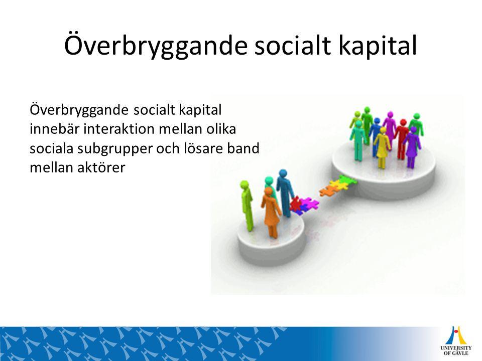 Överbryggande socialt kapital Överbryggande socialt kapital innebär interaktion mellan olika sociala subgrupper och lösare band mellan aktörer