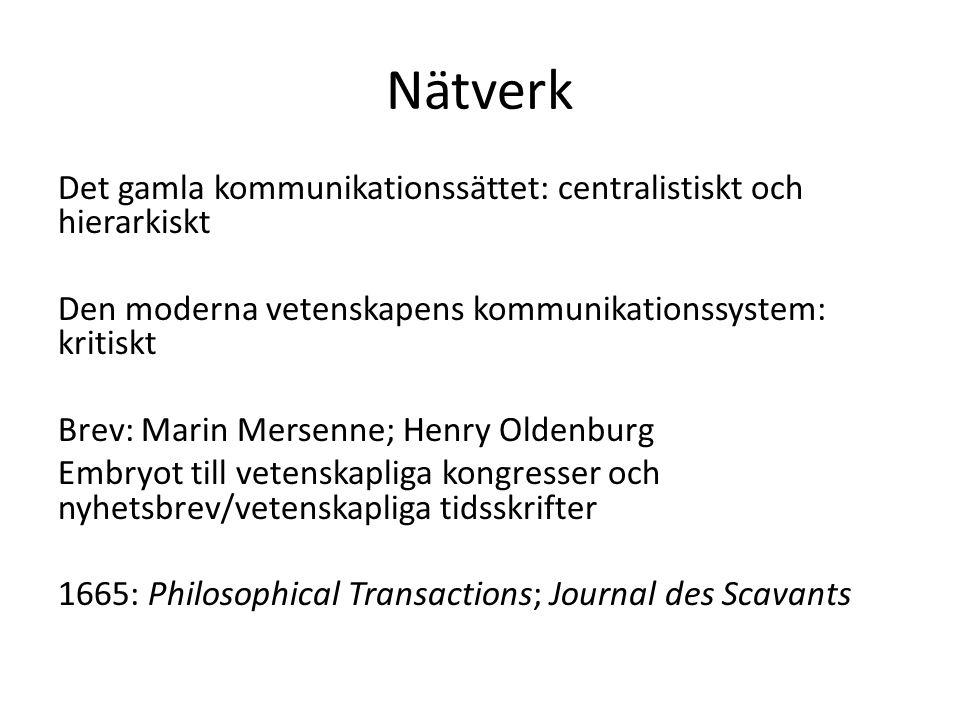 Nätverk Det gamla kommunikationssättet: centralistiskt och hierarkiskt Den moderna vetenskapens kommunikationssystem: kritiskt Brev: Marin Mersenne; H