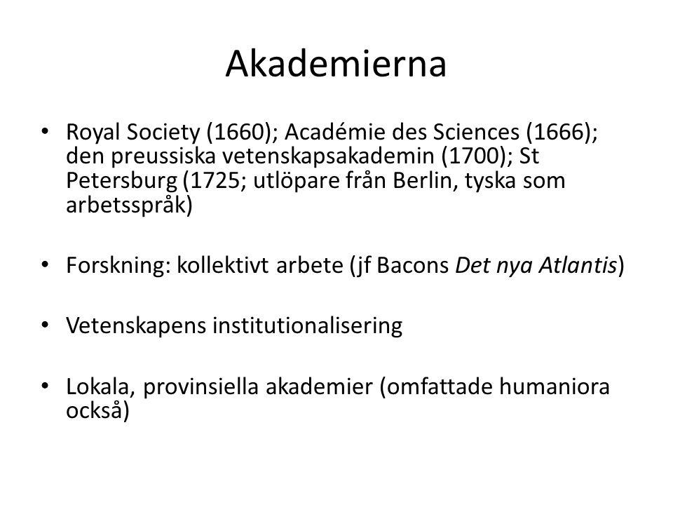 Akademierna Royal Society (1660); Académie des Sciences (1666); den preussiska vetenskapsakademin (1700); St Petersburg (1725; utlöpare från Berlin, t