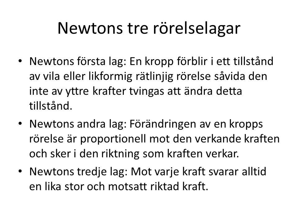 Newtons tre rörelselagar Newtons första lag: En kropp förblir i ett tillstånd av vila eller likformig rätlinjig rörelse såvida den inte av yttre kraft
