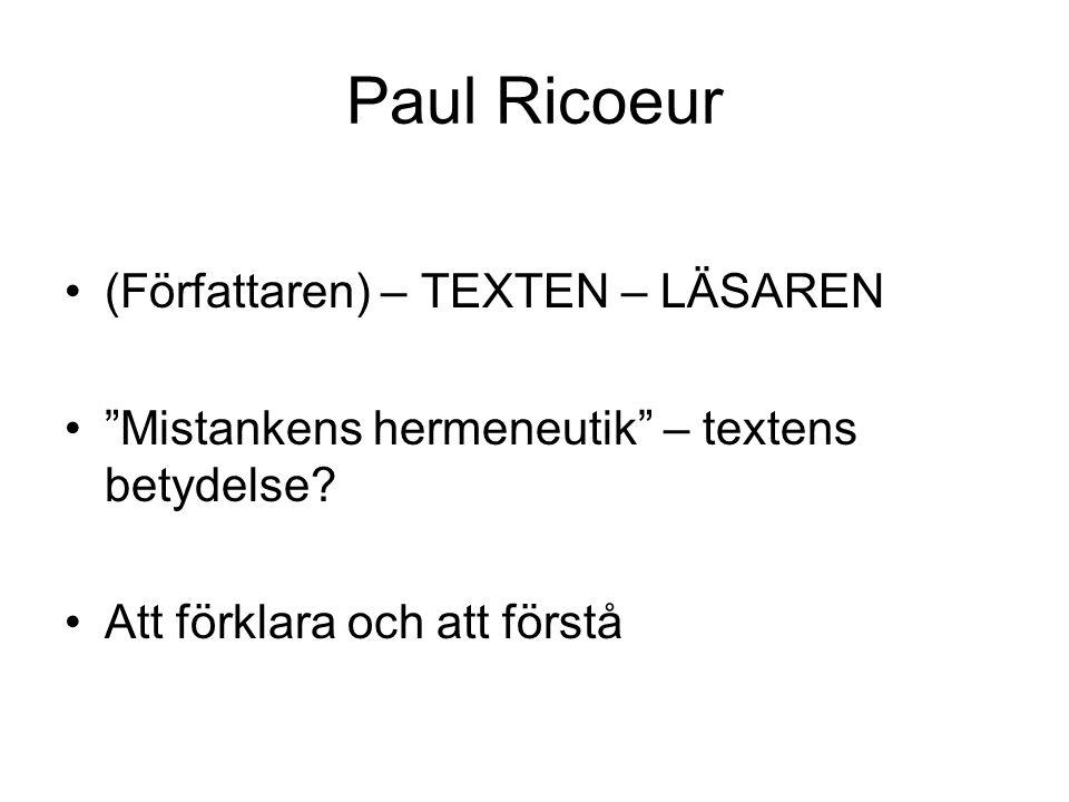 """Paul Ricoeur (Författaren) – TEXTEN – LÄSAREN """"Mistankens hermeneutik"""" – textens betydelse? Att förklara och att förstå"""