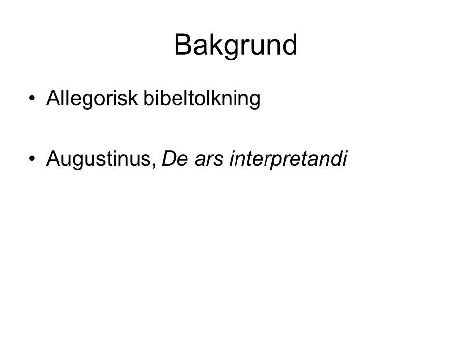 Bakgrund Allegorisk bibeltolkning Augustinus, De ars interpretandi
