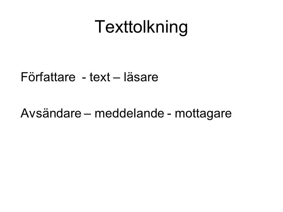 Texttolkning Författare - text – läsare Avsändare – meddelande - mottagare