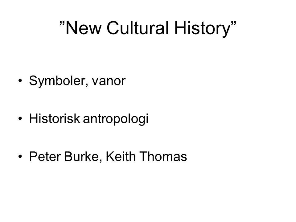 New Cultural History Symboler, vanor Historisk antropologi Peter Burke, Keith Thomas