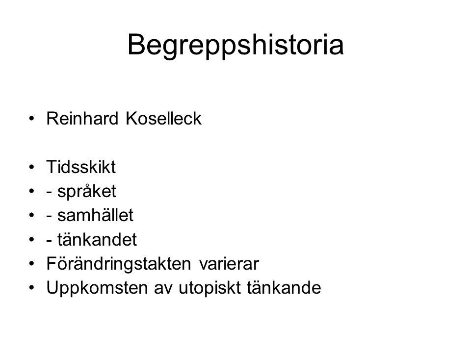 Begreppshistoria Reinhard Koselleck Tidsskikt - språket - samhället - tänkandet Förändringstakten varierar Uppkomsten av utopiskt tänkande