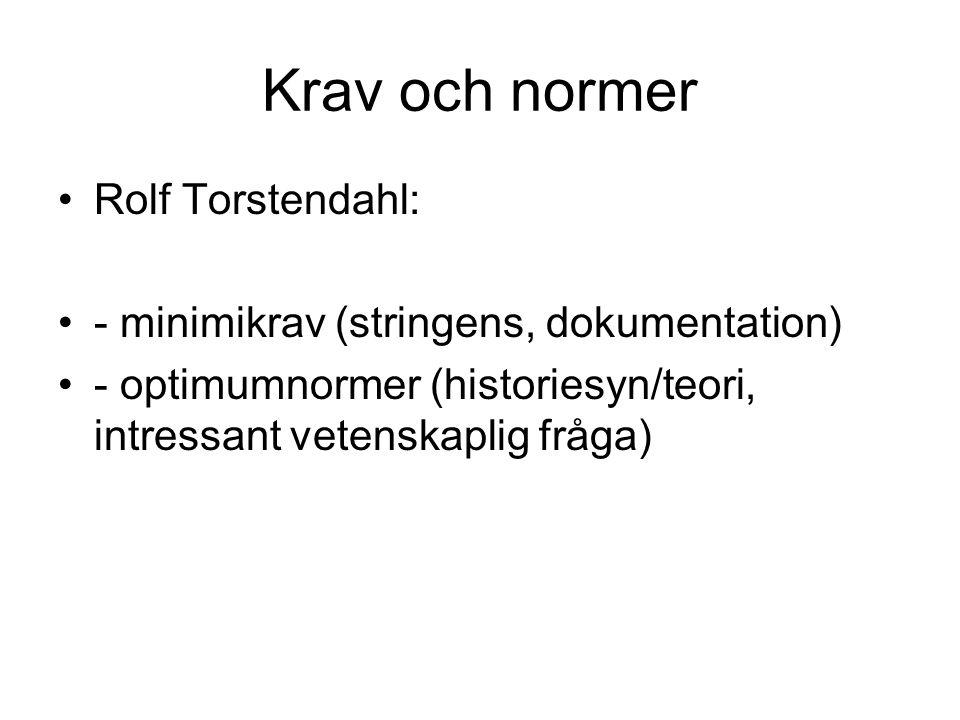 Krav och normer Rolf Torstendahl: - minimikrav (stringens, dokumentation) - optimumnormer (historiesyn/teori, intressant vetenskaplig fråga)