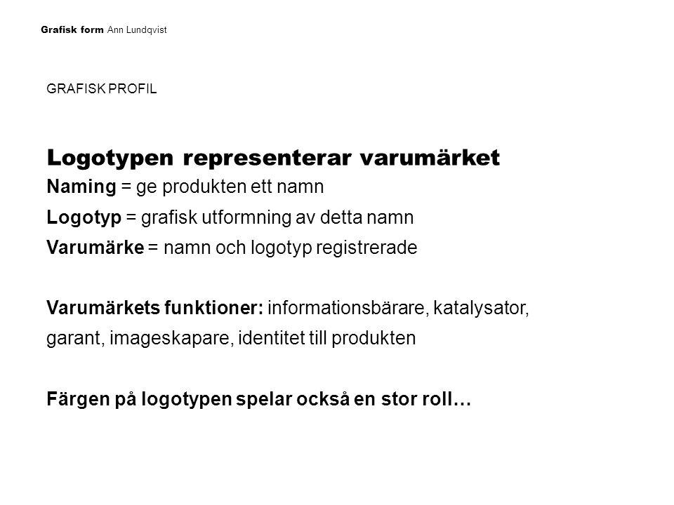Grafisk form Ann Lundqvist GRAFISK PROFIL Logotypen utformning ska: Identifiera företaget Identifiera företaget eller produkten Särskilja företaget eller produkten från andra Kommunicera med marknaden Informera om företagets eller produktens originalitet, värde och kvalitet.