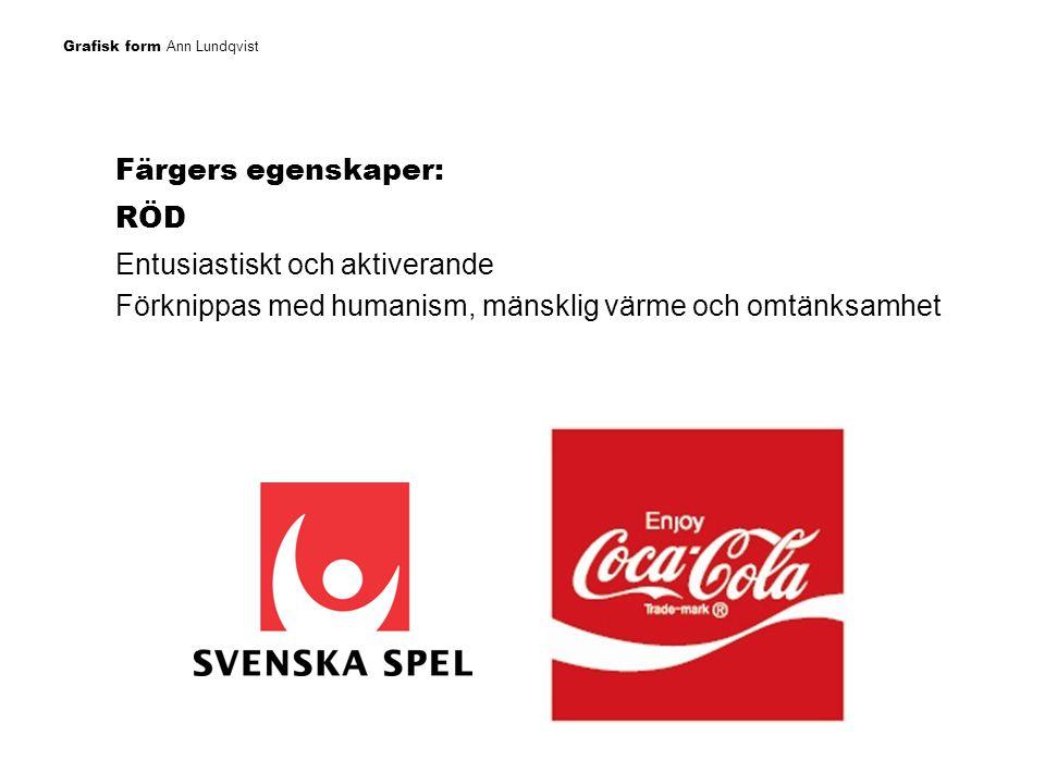 Grafisk form Ann Lundqvist Färgers egenskaper: BLÅ Trygghet, trovärdighet Kvalité och exklusivitet