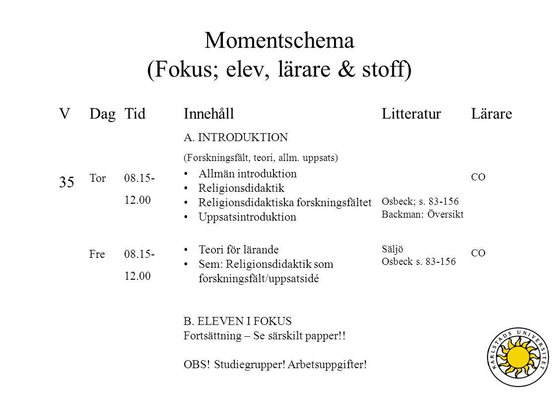 Momentschema (Fokus; elev, lärare & stoff) VDagTidInnehållLitteraturLärare A. INTRODUKTION (Forskningsfält, teori, allm. uppsats) 35 Tor 08.15- 12.00