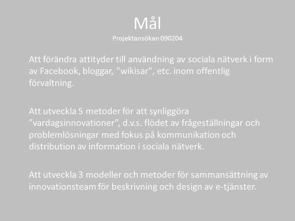 Mål Projektansökan 090204 Att förändra attityder till användning av sociala nätverk i form av Facebook, bloggar, wikisar , etc.