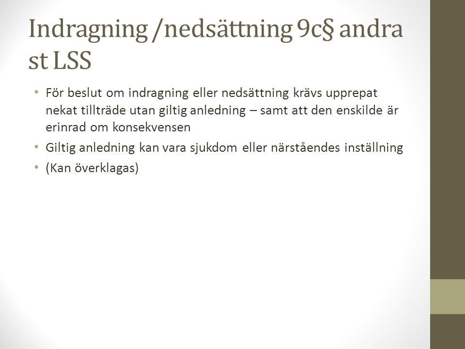Indragning /nedsättning 9c§ andra st LSS För beslut om indragning eller nedsättning krävs upprepat nekat tillträde utan giltig anledning – samt att de