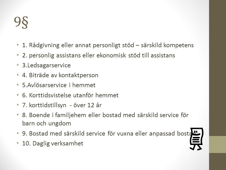 9§ 1. Rådgivning eller annat personligt stöd – särskild kompetens 2. personlig assistans eller ekonomisk stöd till assistans 3.Ledsagarservice 4. Bitr