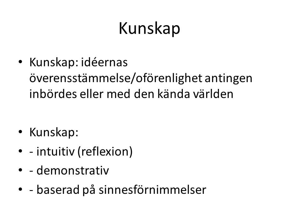 Kunskap Kunskap: idéernas överensstämmelse/oförenlighet antingen inbördes eller med den kända världen Kunskap: - intuitiv (reflexion) - demonstrativ - baserad på sinnesförnimmelser