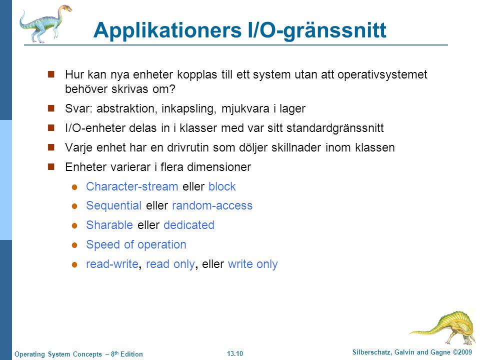 13.10 Silberschatz, Galvin and Gagne ©2009 Operating System Concepts – 8 th Edition Applikationers I/O-gränssnitt Hur kan nya enheter kopplas till ett