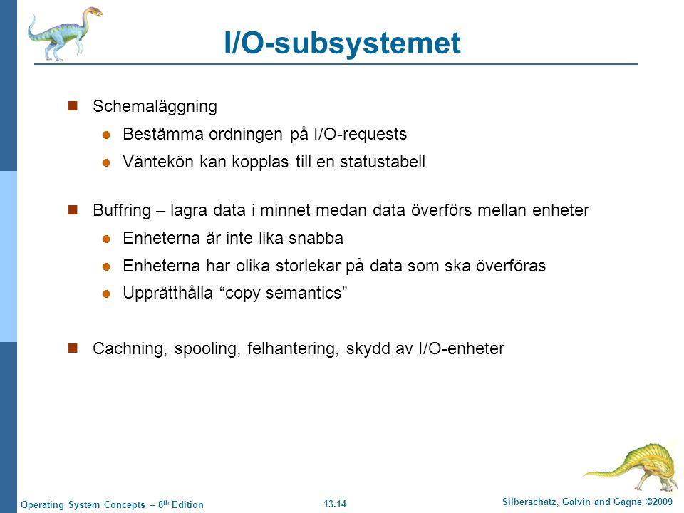 13.14 Silberschatz, Galvin and Gagne ©2009 Operating System Concepts – 8 th Edition I/O-subsystemet Schemaläggning Bestämma ordningen på I/O-requests