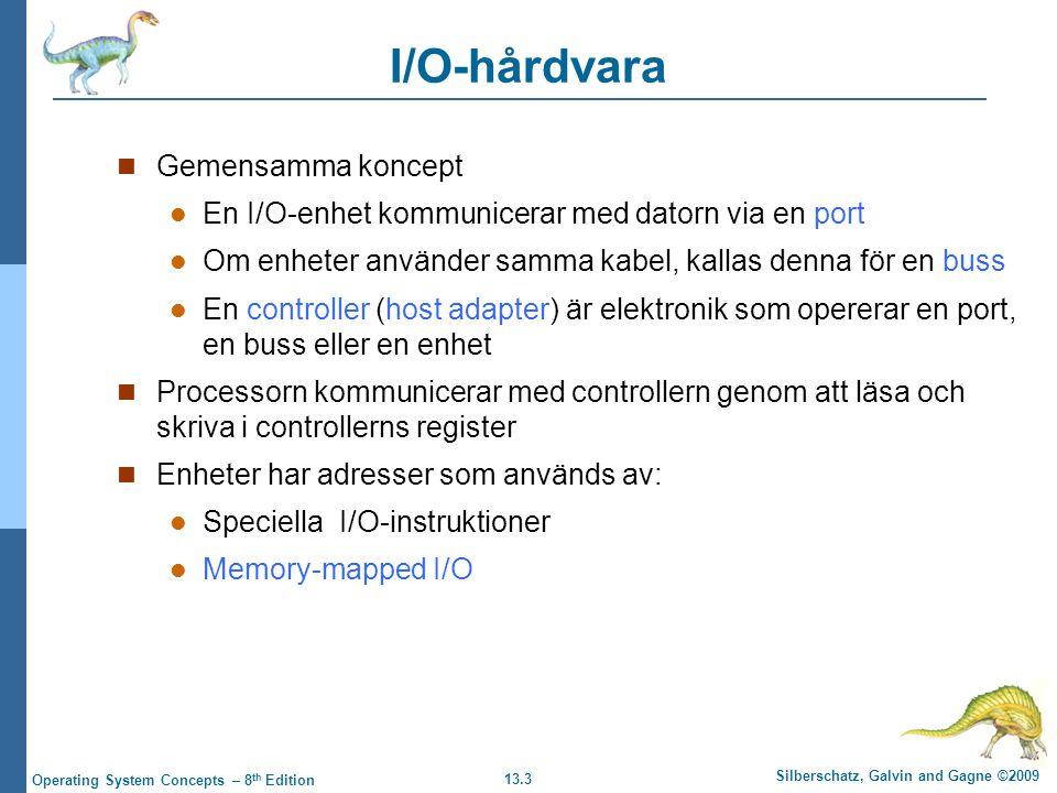 13.3 Silberschatz, Galvin and Gagne ©2009 Operating System Concepts – 8 th Edition I/O-hårdvara Gemensamma koncept En I/O-enhet kommunicerar med dator