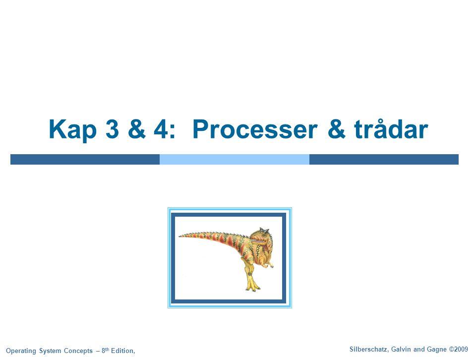 3.2 Silberschatz, Galvin and Gagne ©2009 Operating System Concepts – 8 th Edition Processkonceptet Ett operativsystem exekverar oftast flera olika program samtidigt Ett program som exekverar kallas för en process En process består av: Programkoden (text section) Programräknare Innehållet i CPU-registren En stack En datasektion En heap (ibland)