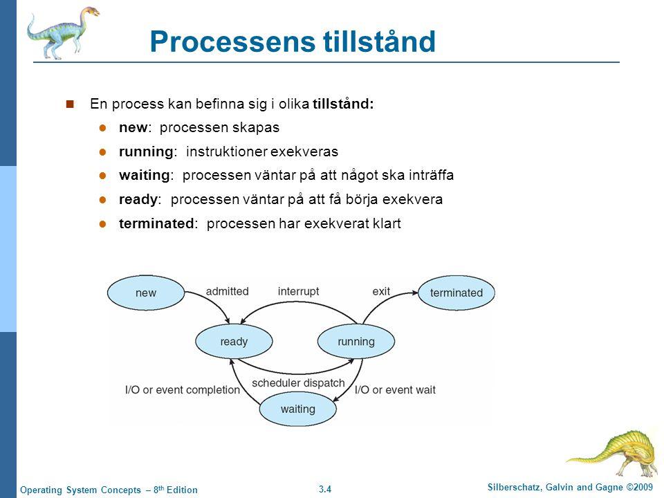 3.5 Silberschatz, Galvin and Gagne ©2009 Operating System Concepts – 8 th Edition Process Control Block (PCB) OS har information om varje process i ett PCB Vilket tillstånd den befinner sig i Processnummer för identifikation Programräknare – adress till nästa instruktion Värden i CPU-registren Schemaläggningsinformation Minneshanteringsinformation I/O-status (öppna filer, allokerade I/O- enheter)