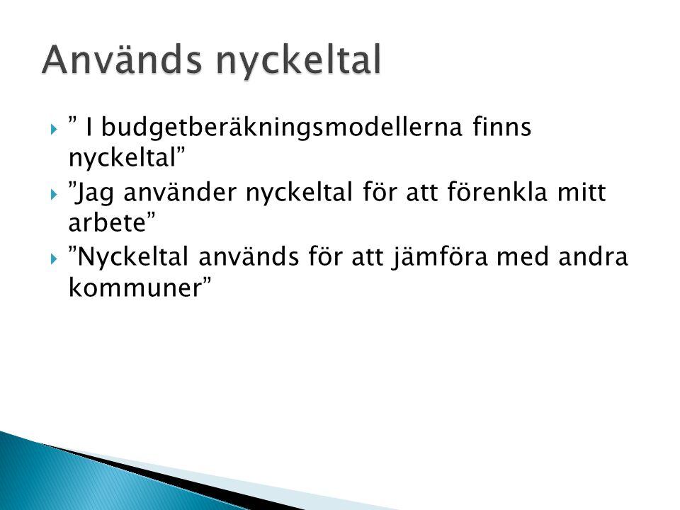  I budgetberäkningsmodellerna finns nyckeltal  Jag använder nyckeltal för att förenkla mitt arbete  Nyckeltal används för att jämföra med andra kommuner