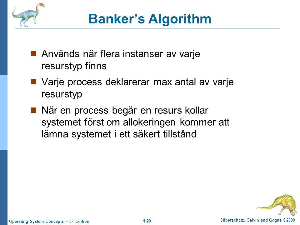 1.20 Silberschatz, Galvin and Gagne ©2009 Operating System Concepts – 8 th Edition Banker's Algorithm Används när flera instanser av varje resurstyp f