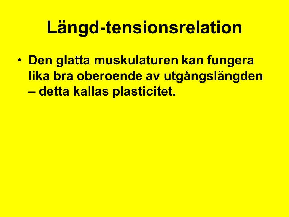 Längd-tensionsrelation Den glatta muskulaturen kan fungera lika bra oberoende av utgångslängden – detta kallas plasticitet.